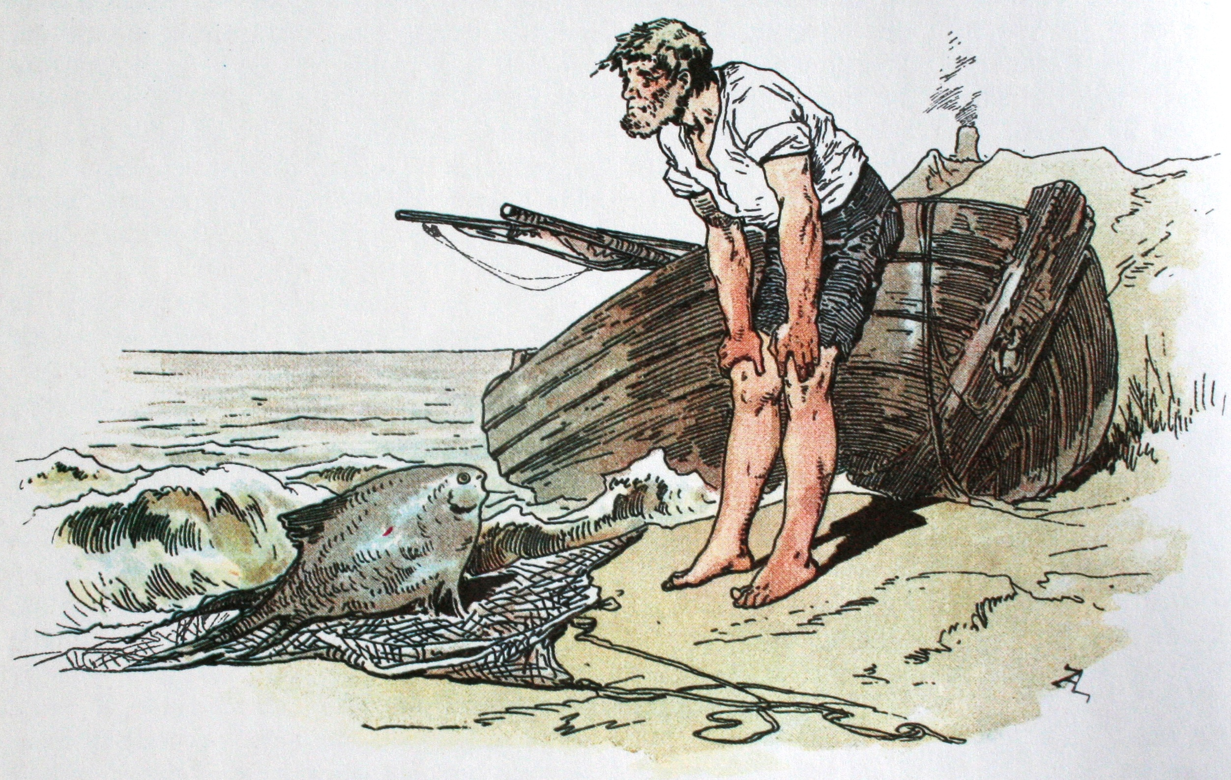 The Fisherman and His Wife illustration by Alexander Zick This work is in the public domain in the United States because it was published (or registered with the U.S. Copyright Office) before January 1, 1923.